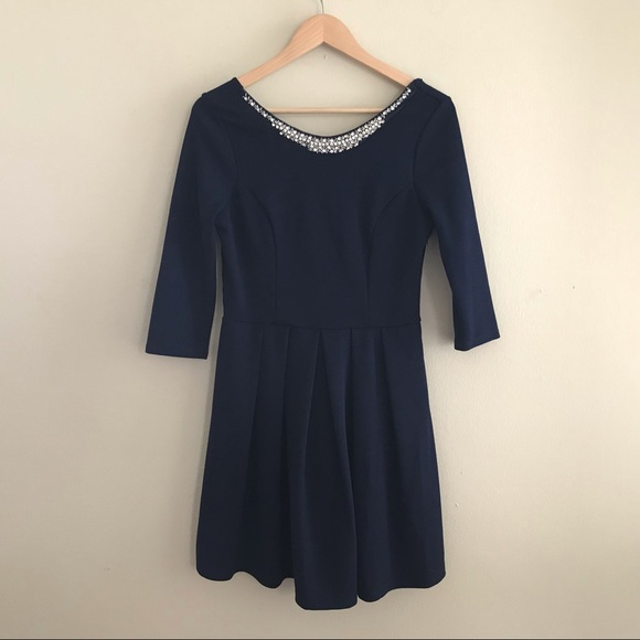 Francesca's Collections Dresses & Skirts - Francesca's 3/4 Sleeve Navy Dress Size L